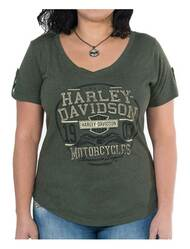 Harley-Davidson® Women's Eagle Seal Short Sleeve Loop Button Tee, Olive Green - Wisconsin Harley-Davidson