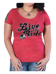 Harley-Davidson® Women's Moxie 'Live To Ride' Short Sleeve Scoop Neck Tee - Red - Wisconsin Harley-Davidson