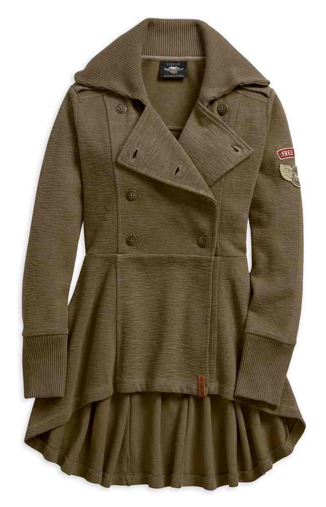Harley Davidson Women S Pleated Back Winged H D Patch Peacoat