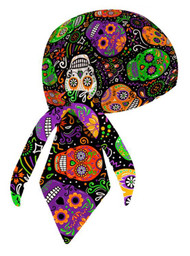 That's A Wrap Women's Biker Sugar Skulls Black/Pastel Bandana Head Wrap. HW2951 - Wisconsin Harley-Davidson
