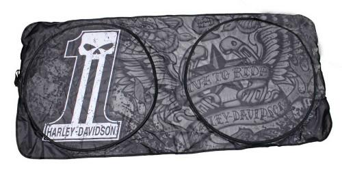 Harley-Davidson® #1 Skull Logo Spring Style Sun Shade Universal Fit Black P3649