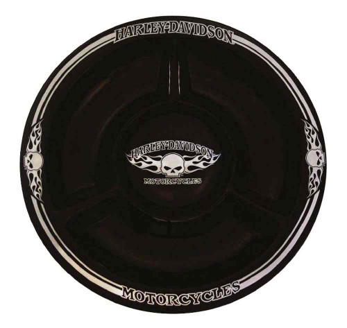 Harley-Davidson® Chip N Dip Flaming Willie G Skull Ceramic Plate, 12 In HD-HD-902