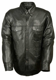 Leather King Men's Lambskin Leather Shirt w/ Snap Down Collar LKM1600 - C