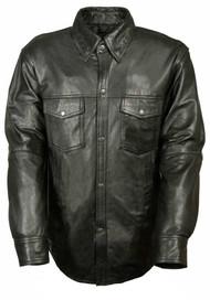 Leather King Men's Lambskin Leather Shirt w/ Snap Down Collar LKM1600 - C