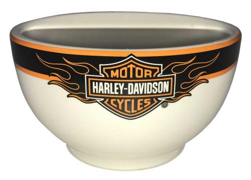 Harley-Davidson® Flaming Bar & Shield Ceramic Bowl, 6 inch White HD-FLM-1445