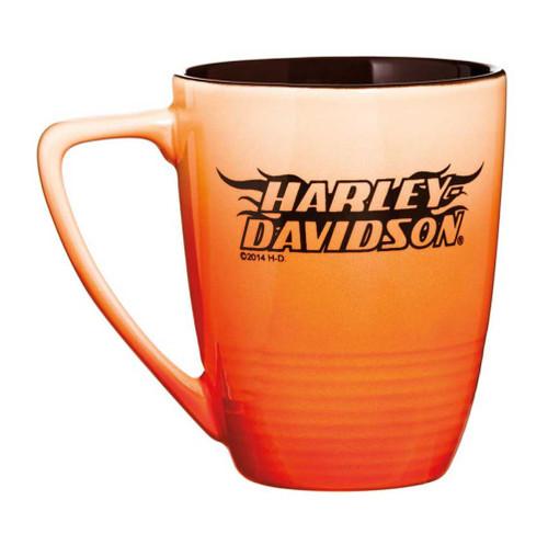 Harley-Davidson® Ceramic Coffee Mug, Ombre Flames H-D, 14 oz. Orange 3OFM4909
