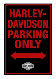 Harley-Davidson® Tin Sign, H-D Embossed Parking Only Sign, Black 2010971 - Wisconsin Harley-Davidson