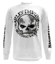 Harley-Davidson® Men's Shirt, Willie G Skull Long Sleeve Tee, White 30296646 - Wisconsin Harley-Davidson