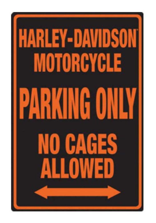 Harley-Davidson® Embossed No Cages Packing Tin Sign, 12 x 18 inch 2010691