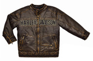 Harley-Davidson® Little Boys' Laundered P.U. Motorcycle Biker Jacket, 3386084 - Wisconsin Harley-Davidson