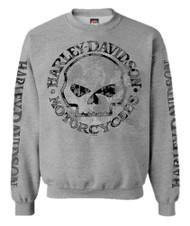 Harley-Davidson® Men's Pullover Crew Sweatshirt H-D Willie G Skull Gray 30296655 - Wisconsin Harley-Davidson