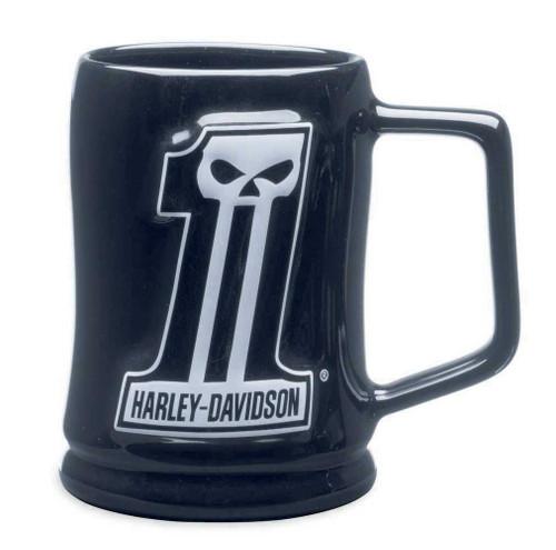 Harley-Davidson® #1 Skull Sculpted Ceramic Mug 16 oz, Black Coffee Mug 99219-14V