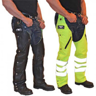 Missing Link Leather/Nylon Reversible Hook Chaps (Black/HiViz Green) RHCLG - A