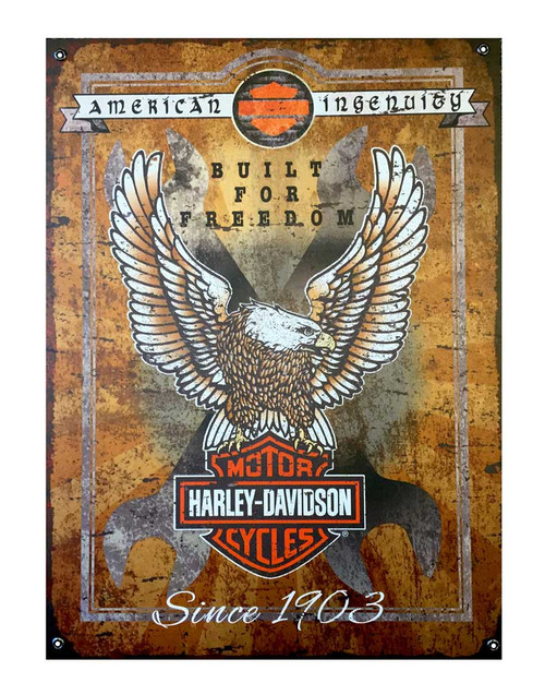 Harley-Davidson® Built For Freedom Eagle Textured Aluminum Sign AC6-BFF-E-HARL