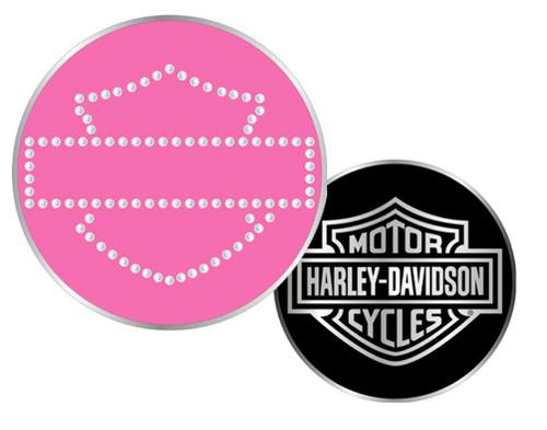 Harley-Davidson® Bar & Shield Rhinestone Challenge Coin 1.75'' Pink 8002985