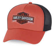 Harley-Davidson® Women's Bar & Shield Logo Trucker Cap, Orange/Black. 99500-15VW - Wisconsin Harley-Davidson