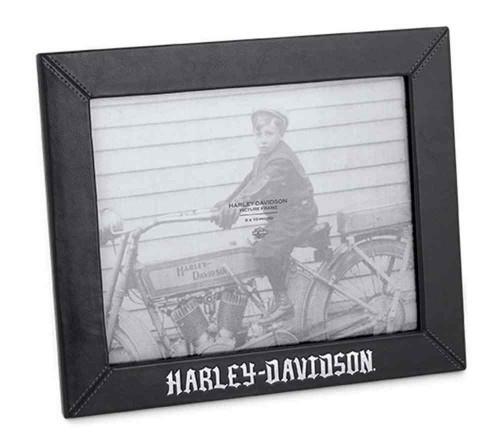 Harley-Davidson® Black Leather 8 in. x 10 in. Photo Frame, Black. 96824-16V