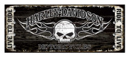 Harley-Davidson® 17 x 44 Genuine Willie G Skull Studded Wood Sign W5-SCGPX8-HARL