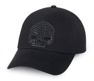 Harley-Davidson® Women's Rhinestone Skull Baseball Cap, Black Cotton. 99502-15VW