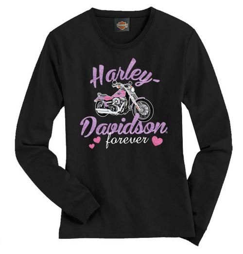 Harley-Davidson® Big Girls' Tee, Long Sleeve Glitter Bike Shirt, Black 1540585 - A