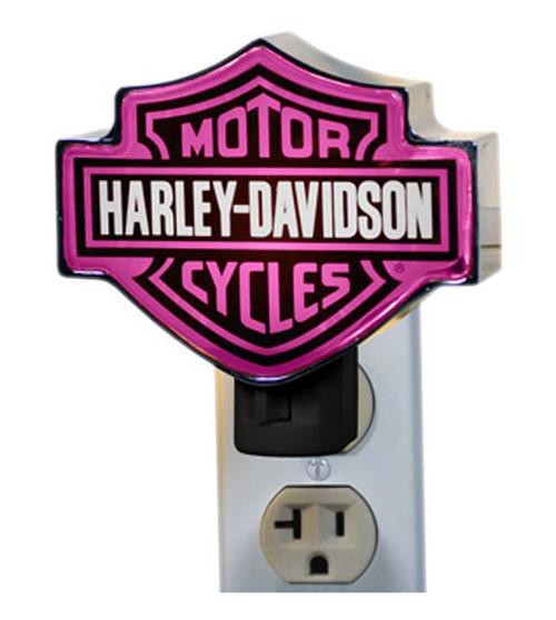 Harley-Davidson® Chrome Bar and Shield Logo Pink Plug-In Nightlight HD-HDP-857