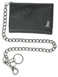 Harley-Davidson® Men's Trifold Wallet, Embossed Bar & Shield, Black CR2314L-Black - Wisconsin Harley-Davidson