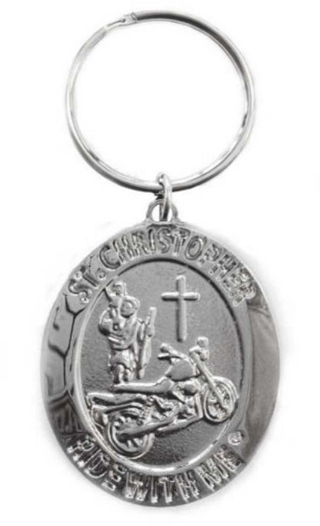 St. Christopher Ride with Me Motorcycle Medal Keychain BH010