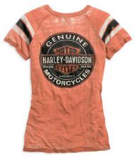 Harley-Davidson® Womens Genuine Oil Can Burnout Tee, Vintage Orange 99197-14VW - A