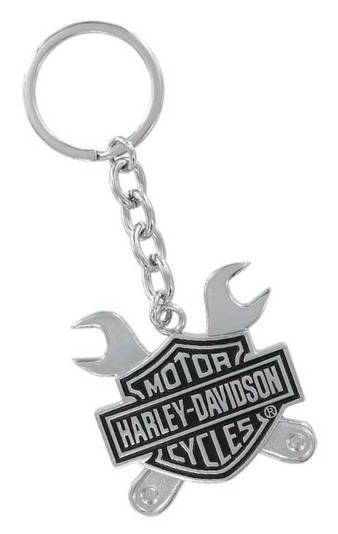 Harley-Davidson® Bar & Shield Logo Cross Wrenches 3D Chrome Key Chain HDKD276