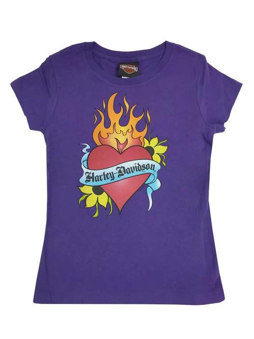 Harley-Davidson® Big Girls' Burning Heart Logo Short Sleeve Youth Tee, Purple - Wisconsin Harley-Davidson