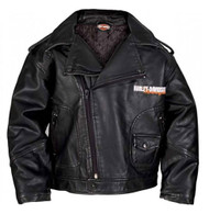 Harley-Davidson® Little Boys' Upwing Eagle Biker Pleather Jacket Black 0376074 - Wisconsin Harley-Davidson