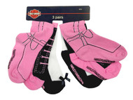 Harley-Davidson® Little Girls' Knitted-In Shoe Socks, 3 Pairs, Pink/Black 7020409