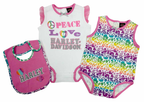 Harley-Davidson® Baby Girls' 2 Pk Harley Creeper & Bib Set, White/Pastel 3012505