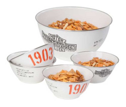 Harley-Davidson® 1903 Bar & Shield Enamel Snack Bowl Set, Coated Steel HDL-18552 - A