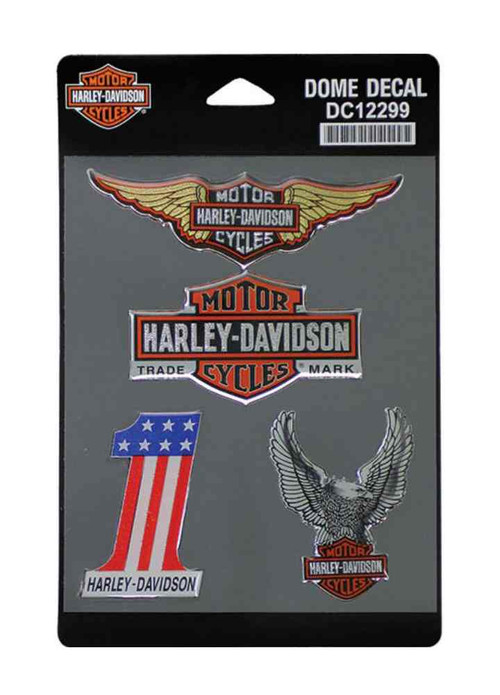 Harley-Davidson® Dome Decals, 4 Vintage Collection Iconic Logos DC12299