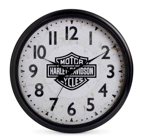 Harley-Davidson® 20 in. Silent Bar & Shield Wall Clock, Bar Gameroom. 96827-16V