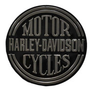 Harley-Davidson® Embossed H-D Platinum Disc Round Tin Sign, Black 2010701 - Wisconsin Harley-Davidson