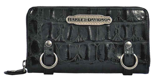 Harley Davidson Womens Black Hammered Croco Zip Clutch Wallet HC7990L-BLK