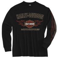 Harley-Davidson® Little Boys' Tee, Long Sleeve Flames Bar & Shield, Black 1580605 - Wisconsin Harley-Davidson