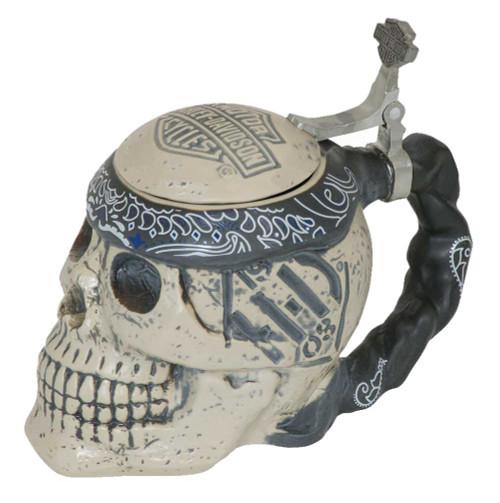 Harley-Davidson® Bar & Shield Sculpted Ceramic Skull Stein, 24 oz. HDL-18606 - Wisconsin Harley-Davidson