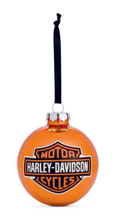 Harley-Davidson® Bar & Shield Logo Ball Ornament, Orange Christmas. 99203-14V