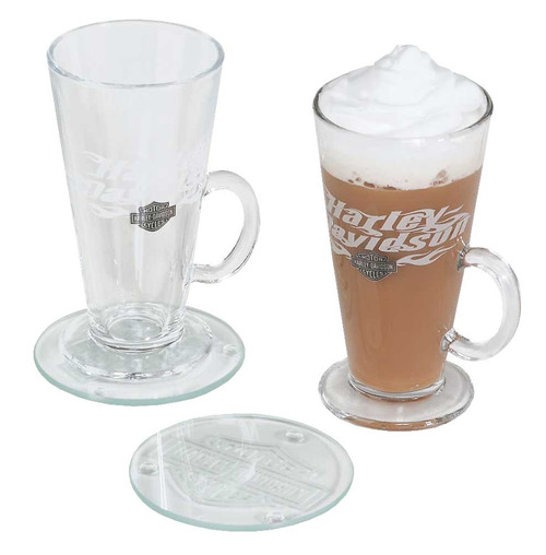 Harley-Davidson® Flaming Bar & Shield Irish Coffee Mug Gift Set, 8 oz. HDL-18760 - Wisconsin Harley-Davidson