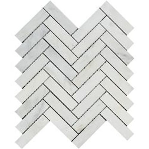 Ocean White Honed 3x12 Set In Herringbone Pattern