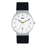 Braun - Men's BN-32WHBKG White dial, black leather band, date, 40 mm Diam.