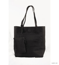 Raw Edge Tote Handbag Black