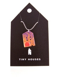 Tiny Houses Enameled Copper Necklace / Cottage