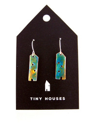 Tiny Houses Enameled Copper Earrings / Tropical