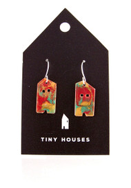 Tiny Houses Enameled Copper Earrings / Woodland