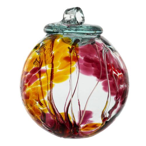 """6"""" Spirit Ball - Multi Pink - Kitras Art Glass"""