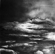 'The Sea' by Artist Sachiko Beck, Japanese rice paper collage and Sumi ink on panel